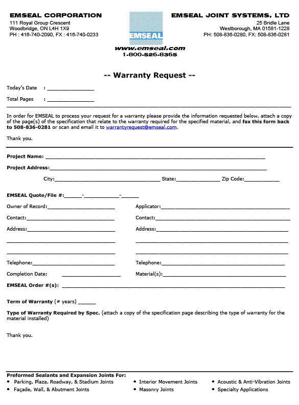 Emseal Warranty Form - thumb