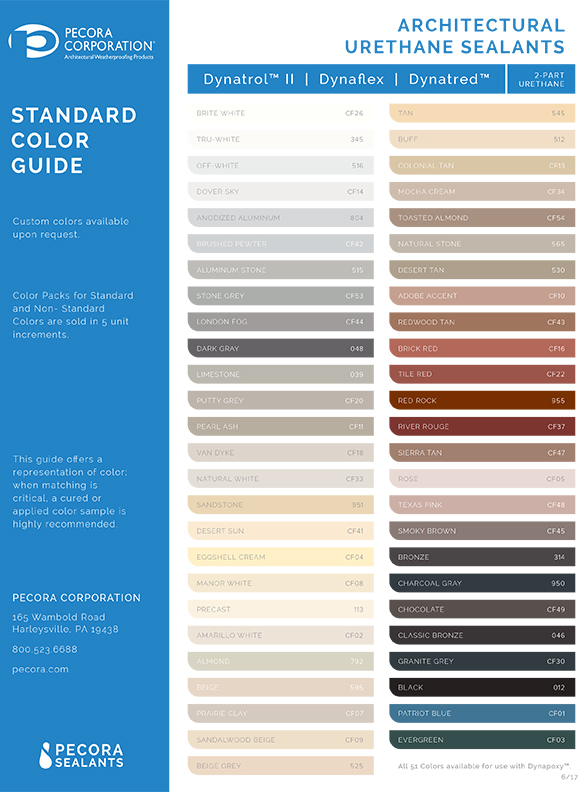 Pecora Urethane Sealants Color Card - thumb