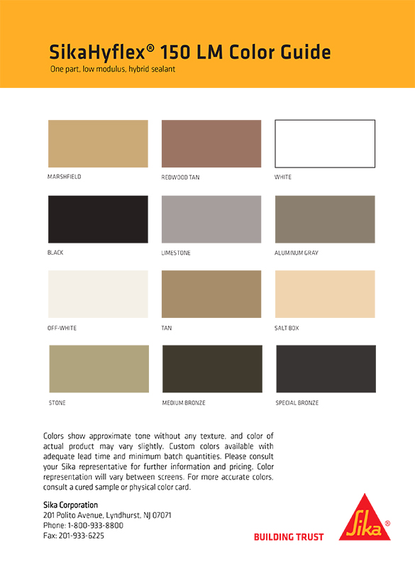Sika HyFlex 150LM Color Card - thumb