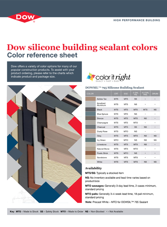 DOWSIL™ Brand Silicone Building Sealant Colors - Front